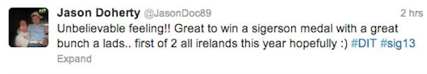 Jason Doherty tweet